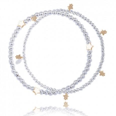 Joma Jewellery Amelia double silver bracelet gold stars