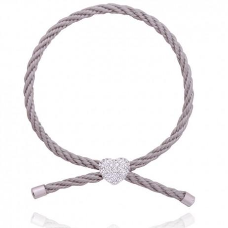 Joma Jewellery Pave Crystal Heart Grey Silk Friendship Bracelet 957