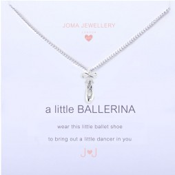 Joma Jewellery Girls a little Ballerina Ballet Shoe Silver Necklace