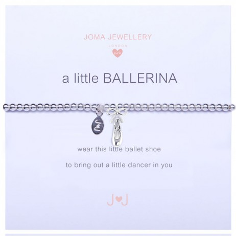 Joma Jewellery Girls a little Ballerina Ballet Shoe Silver Bracelet C157