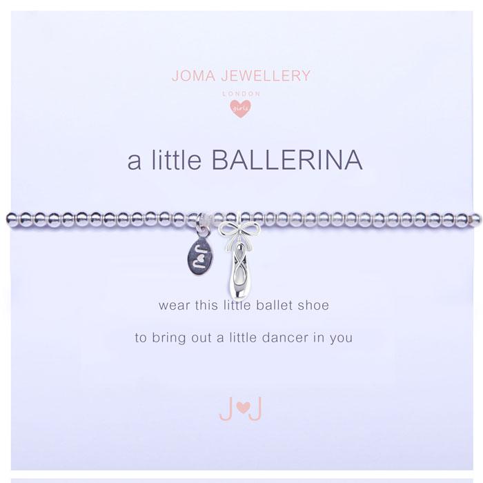 Joma Jewellery Girls A Little Ballerina Ballet Shoe Silver