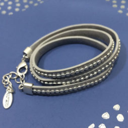 Hultquist Classic Triple Wrap Silver on Pearl Grey Calf Leather Bracelet