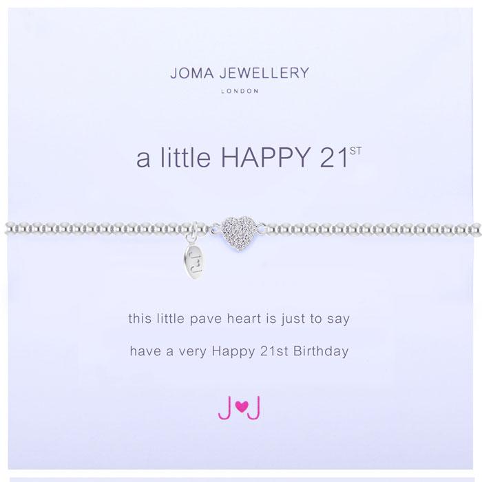 Joma Jewellery A Little Happy 21st Silver Pave Heart Bracelet