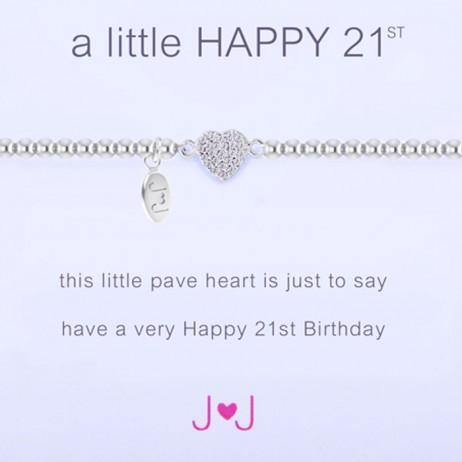 Joma Jewellery a little Happy 21st Silver Pave Heart Bracelet 1220