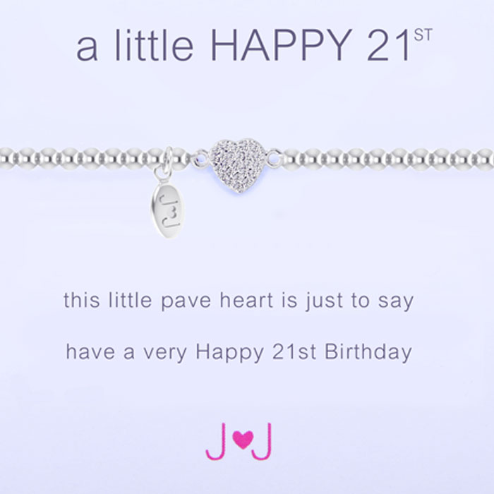 Joma Jewellery A Little Happy 21st Silver Pave Heart Bracelet