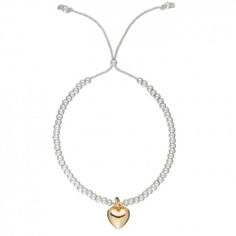 Estella Bartlett Liberty Silver Plated Gold Heart Grey Cord Bracelet