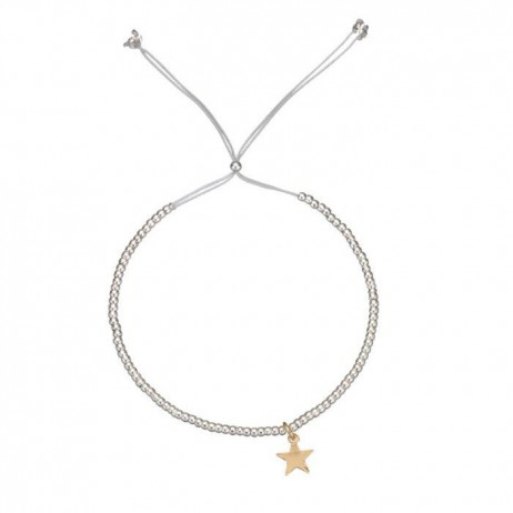 Estella Bartlett Silver Plated Louise Grey Cord Bracelet with Gold Star