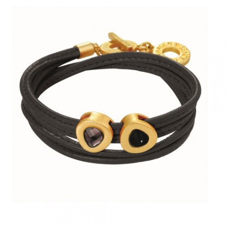 Sence Copenhagen Vienna Black and Gold Leather Wrap Bracelet with Agate Stone