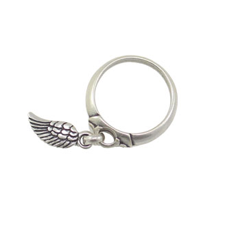Danon Jewellery Silver Mini Angel Wing Charm Ring