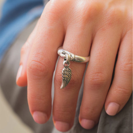 Danon Jewellery Silver Mini Angel Wing Charm Ring