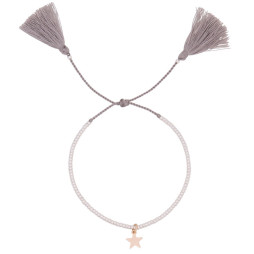 Estella Bartlett Silver Plated Louise Grey Tassle Bracelet with Gold Star