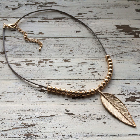 Hot Tomato Jewellery Gold Plated Feather Nude Necklace