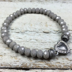 Hot Tomato Jewellery Grey Heart Bracelet