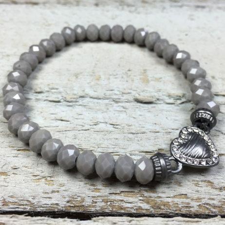 Hot Tomato Jewellery Grey Heart Bracelet