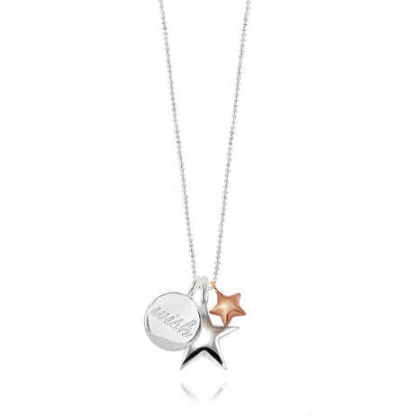 Joma Jewellery Oh So Charming Double Star and Wish Charm Long Silver Necklace