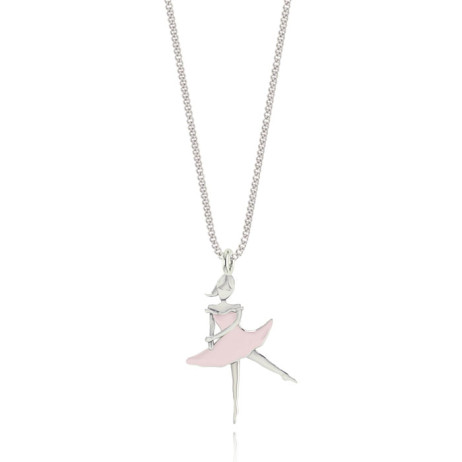 Joma Jewellery Girls Beautiful Pink Ballerina Silver Necklace C164