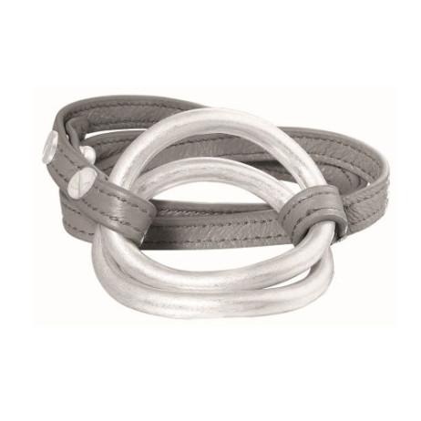 Sence Copenhagen Berlin Bracelet Silver on Light Grey Leather