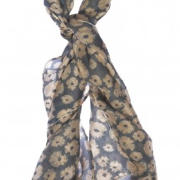 Hot Tomato Silk Splash Flower Blue Grey Scarf