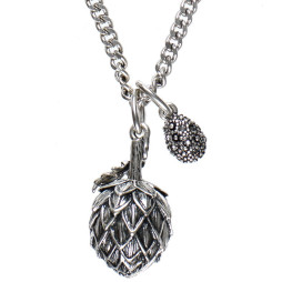 Hultquist Jewellery Silver Artichoke Long Necklace with diamond crystal ball