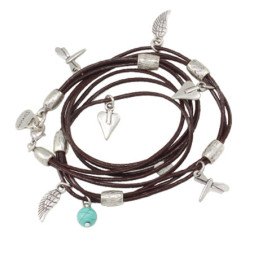 Danon Jewellery Leather Mini Charms Wrap Bracelet