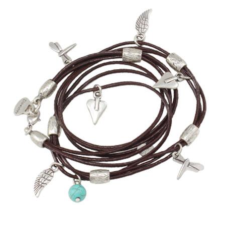 Danon Jewellery Leather Mini Charms Wrap Bracelet