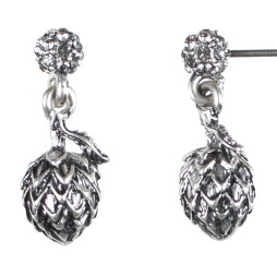 Hultquist Jewellery Silver Artichoke Earstuds with diamond crystal stud