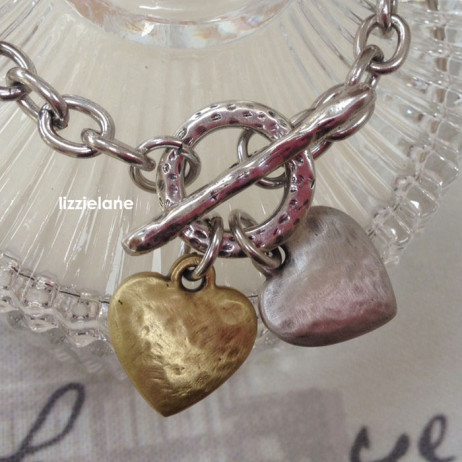 Danon Jewellery Silver and Gold Hammered Hearts Bracelet - EOL