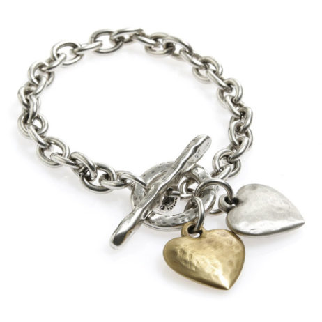 Danon Jewellery Silver and Gold Hearts Bracelet