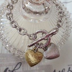 Danon Jewellery Silver and Gold Hammered Hearts Bracelet