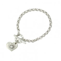 Danon Jewellery Silver Heart with Crystal Belcher Chain Bracelet