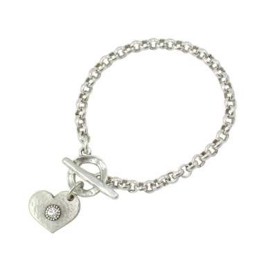 Danon Jewellery Silver Heart with Crystal Belcher Chain Bracelet