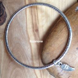 Classic Danon Jewellery Silver Bangle with Mini Wing Charm