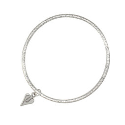 Danon Jewellery Silver Bangle with Mini Heart Charm
