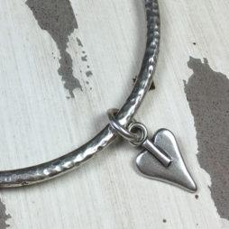 Danon Jewellery Silver Bangle with Mini Heart Charm