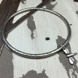 Danon Jewellery Silver Bangle with Mini Dragonfly Charm