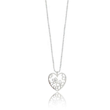 Joma Jewellery Beautiful Blossom Outline Silver Flower Heart Pendant Necklace 1158