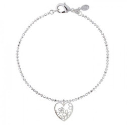 Joma Jewellery Beautiful Blossom Outline Silver Flower Heart Charm Bracelet