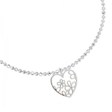 Joma Jewellery Beautiful Blossom Outline Silver Heart Charm Bracelet 1163