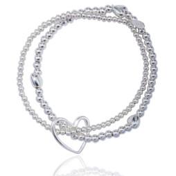 Joma jewellery lila silver Hearts bracelet 338