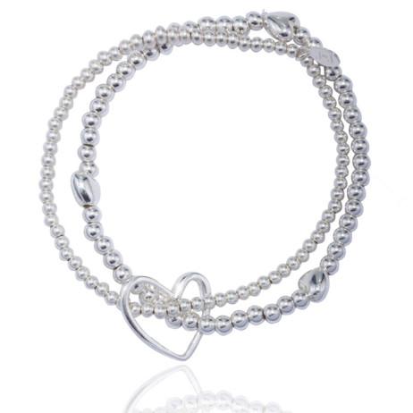 Joma jewellery lila silver Hearts bracelet 338 - EOL