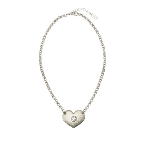 Danon Jewellery Silver Heart with Crystal on Belcher Chain Necklace - EOL