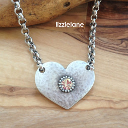 Danon Jewellery Silver Heart with Crystal on Blecher Chain Necklace