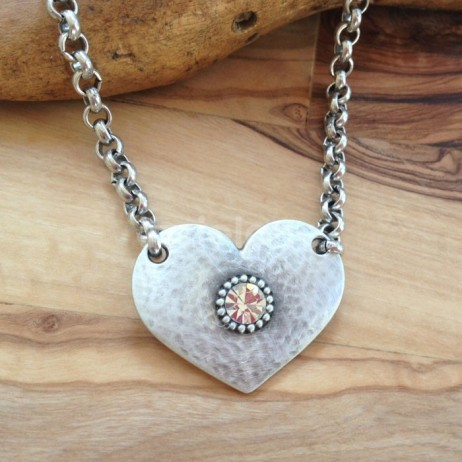 Danon Jewellery Silver Heart with Crystal on Belcher Chain Necklace