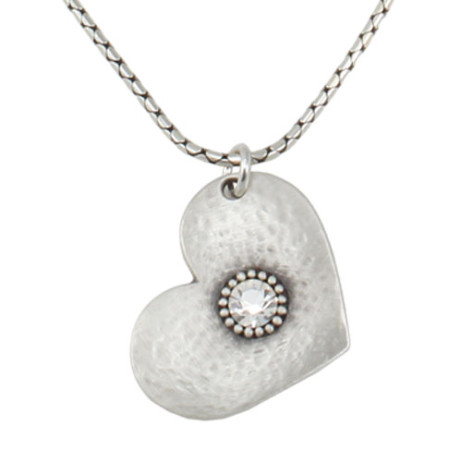 Danon Jewellery Silver Heart with Crystal on Snake Chain Necklace