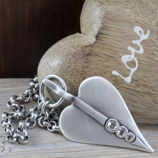 Danon jewellery long large silver crystal heart necklace danon jewellery long large silver heart pendant necklace with crystals aloadofball Choice Image