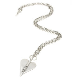 Danon Jewellery Long Large Silver Heart Pendant Necklace with Crystals