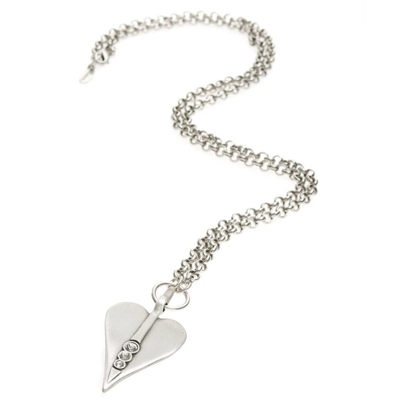 Danon jewellery long large silver crystal heart necklace danon jewellery long large silver heart pendant necklace with crystals mozeypictures Images