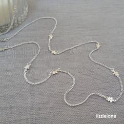 Joma Jewellery Long Silver Tiny Daisy Chain Necklace 1082