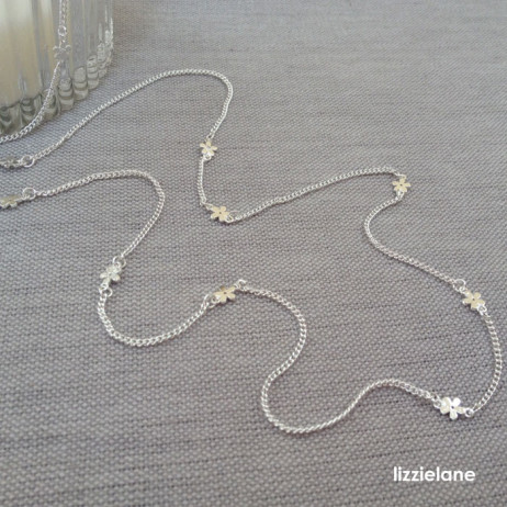 ma Jewellery Long Silver Tiny Daisy Chain Necklace