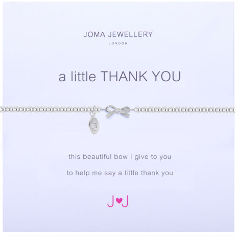 Joma jewellery a little Thank You Grey Bow Bracelet 1100